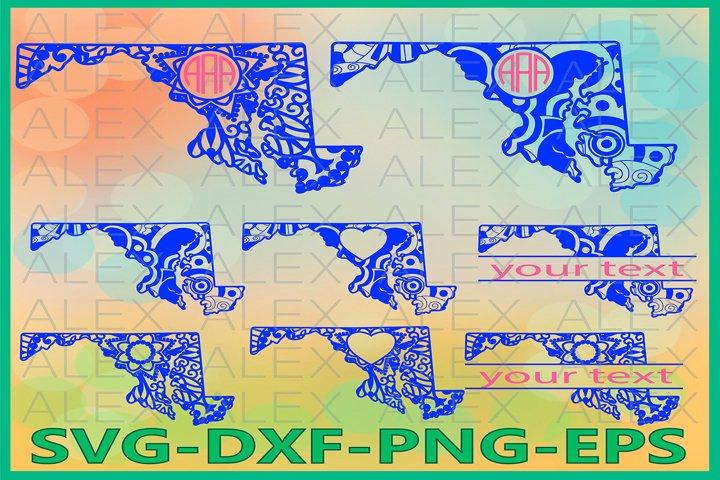 Maryland State SVG, Maryland Mandala SVG, Zentangle svg