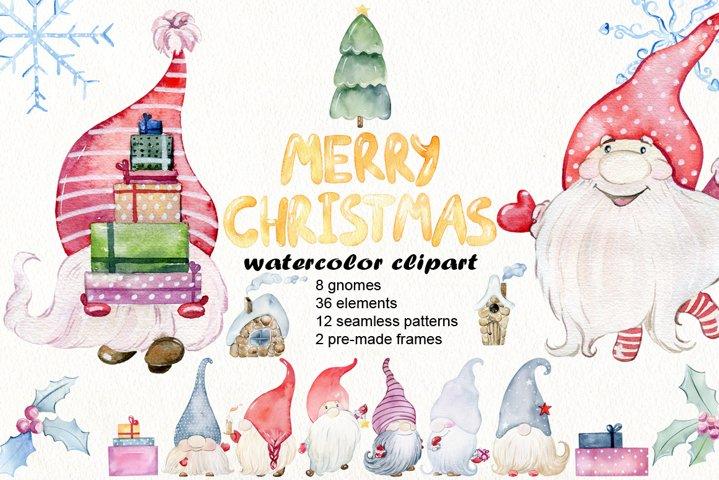 Christmas gnomes. Watercolor clipart