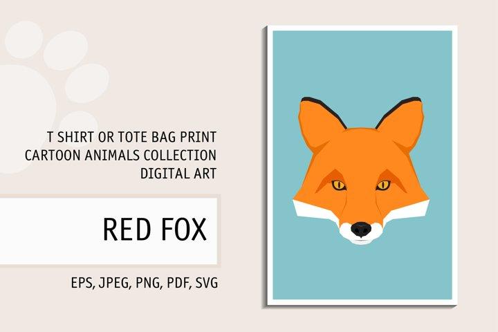 Red fox portrait. Digital art for t shirt, tote bag print