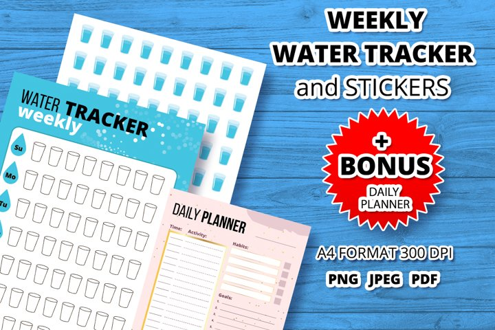 Water tracker and stickers printables template