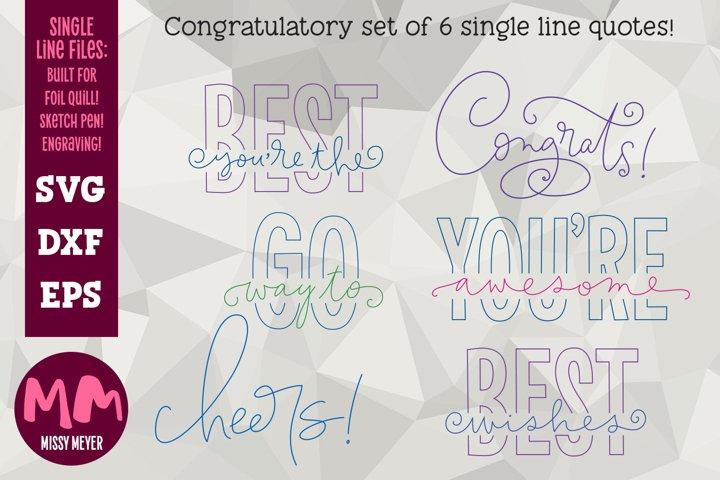 Congrats 6 designs- single line for foil quill & sketch pen!