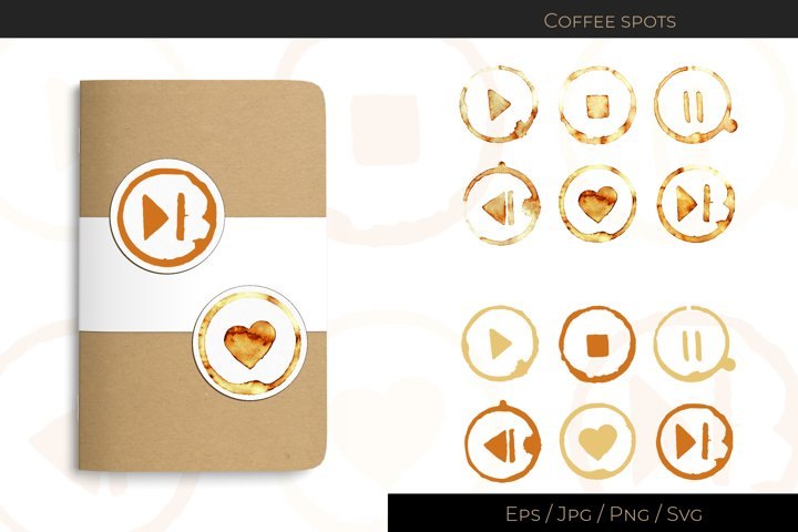 Coffee cup spots with media player picture
