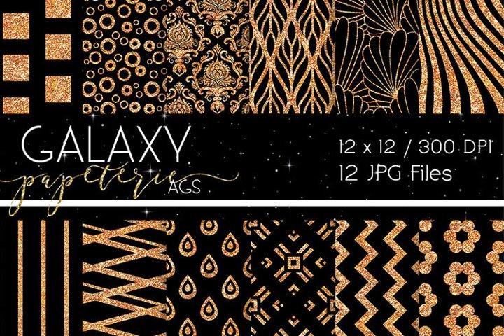 Digital Papers - Black and Orange Glitter, Patterns