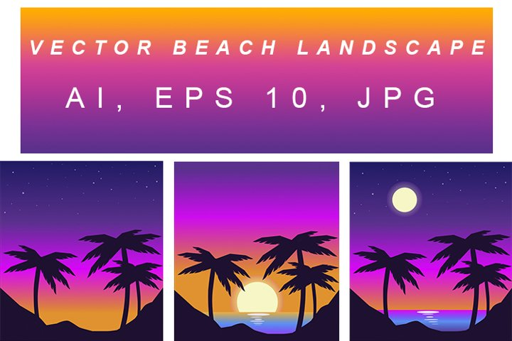 Vector beach landscape in retro wave style