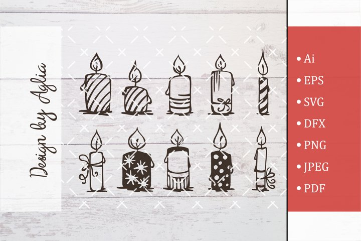 SVG set of candles, Cut file, Line art illustration