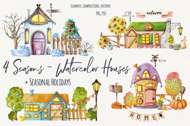 4 Seasons - Watercolor Houses