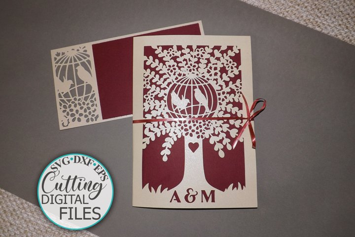 Gate Fold Trifold Pocket Wedding invitation svg dxf