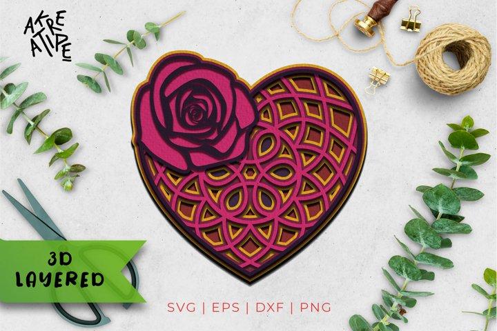 3D Layered Love SVG | Love Cut File | Mandala SVG | Heart