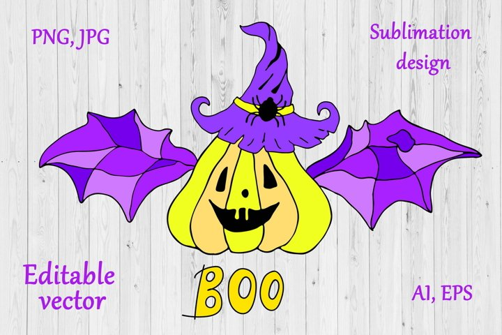 Cute Halloween Pumpkin Sublimation Design - PNG, Vector