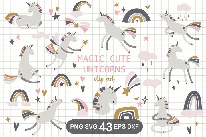 Scandinavian Unicorn Clipart, SVG, PNG, DXF, EPS
