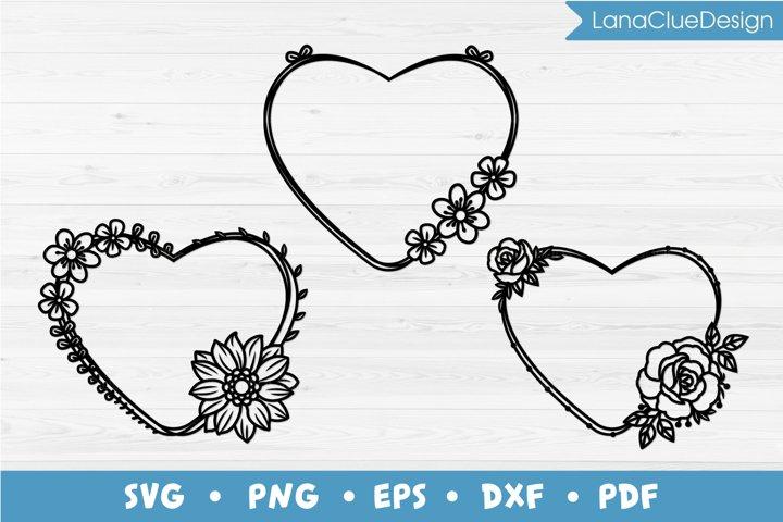 3 Floral Heart Shaped Frames SVG