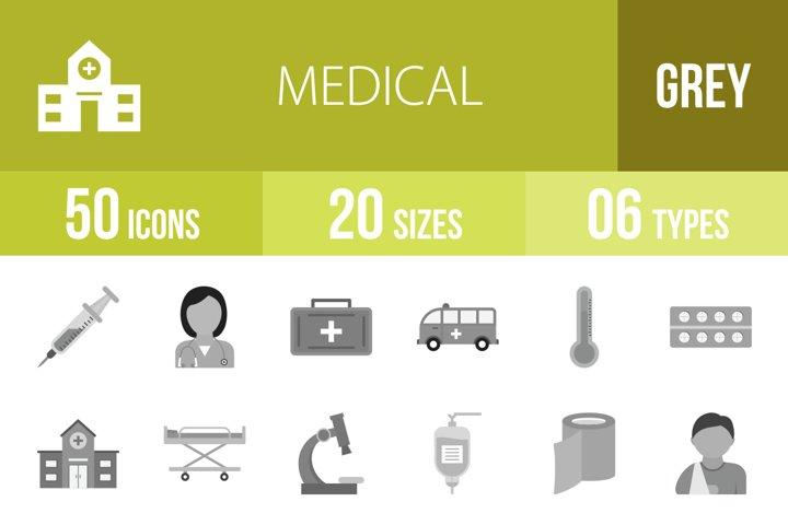 50 Medical Flat Greyscale Icons Season II