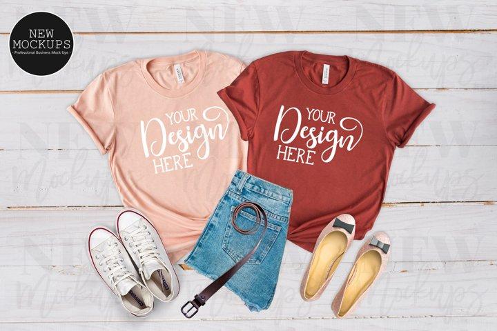 Bella Canvas 3001 Heather Peach & Rust T-Shirt Mockup
