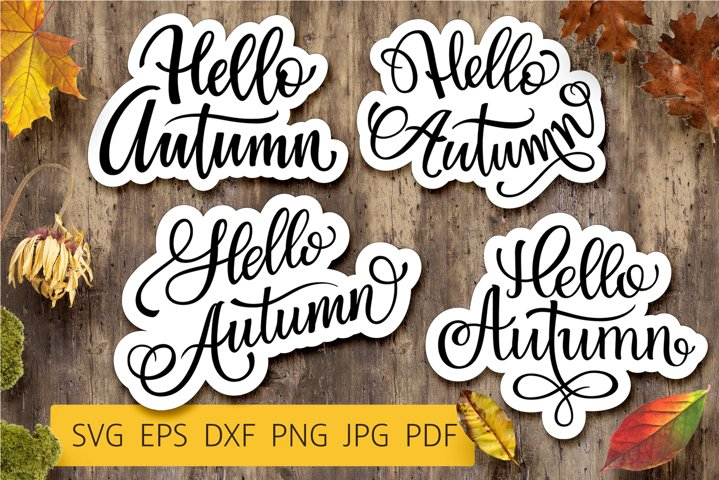 Hello Autumn - Fall Lettering Bundle | SVG Cut file | Vector