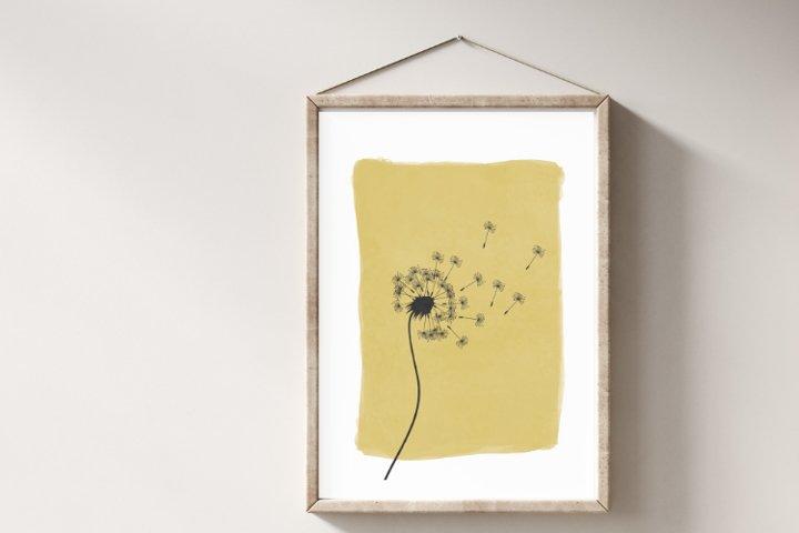 Yellow Dandelion Wall Art, Dandelion Illustration Art Print