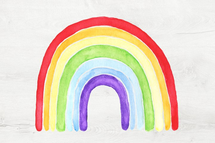 Watercolor PNG Clipart Rainbow.Transparent Background.