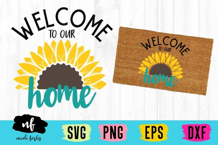 Sunflower Welcome Mat SVG Cut File
