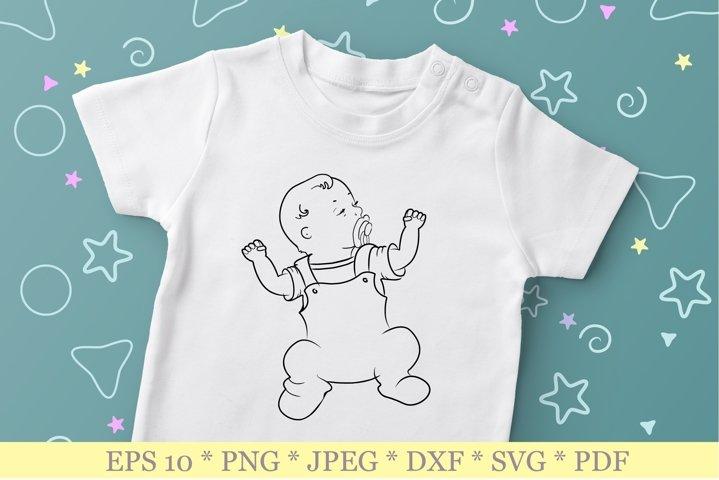 Baby SVG. Newborn SVG. Outline baby silhouette SVG.