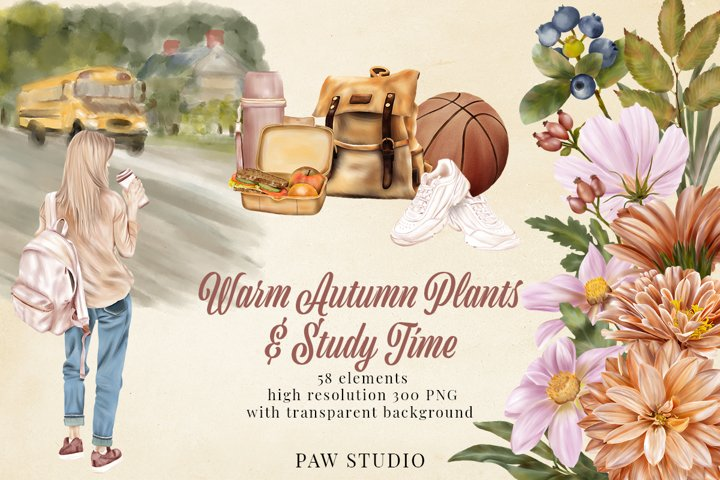 Fall Floral Clipart Girls Back To School Autumn Plants Study