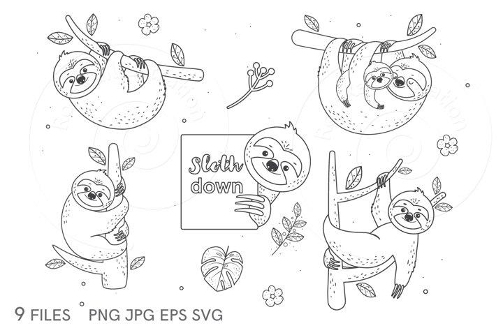 Clip art Cute sloths