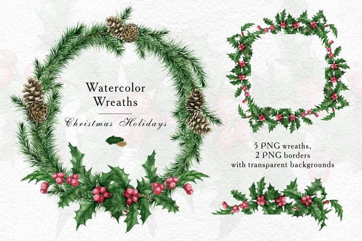 Watercolor Christmas wreaths and borders, Holly, Winter PNG