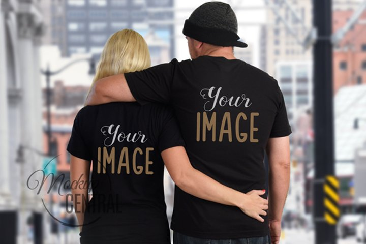 Couples Matching Blank Black Love T-Shirt Mockup JPG Shirt