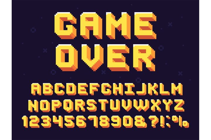 Pixel game font. Retro games text, 90s gaming alphabet and 8