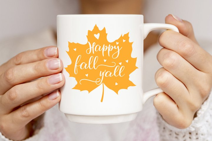 Happy fall yall svg, Maple leaf monogram, Autumn dxf