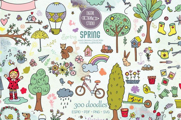 Spring Season Color Doodles | Garden, Bicycle, Bird, Flower