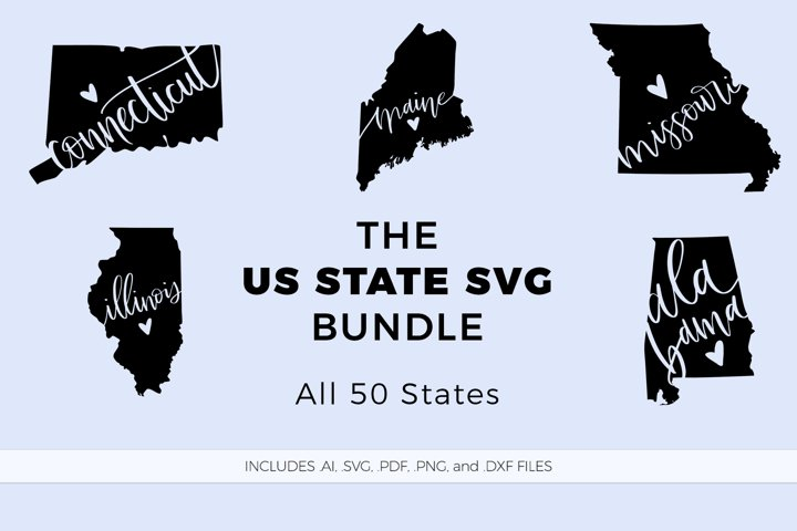 The US State Love SVG Bundle