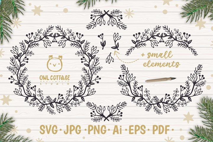 Christmas Wreath and Garlands svg, Christmas Decor Cut File