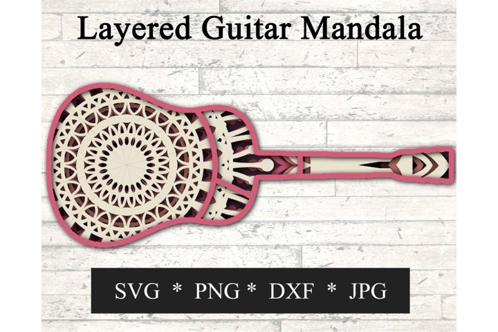 3D Layered Guitar Mandala SVG - 5 Layers