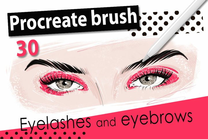 Procreate brush eyelashes, eyebrows, hair