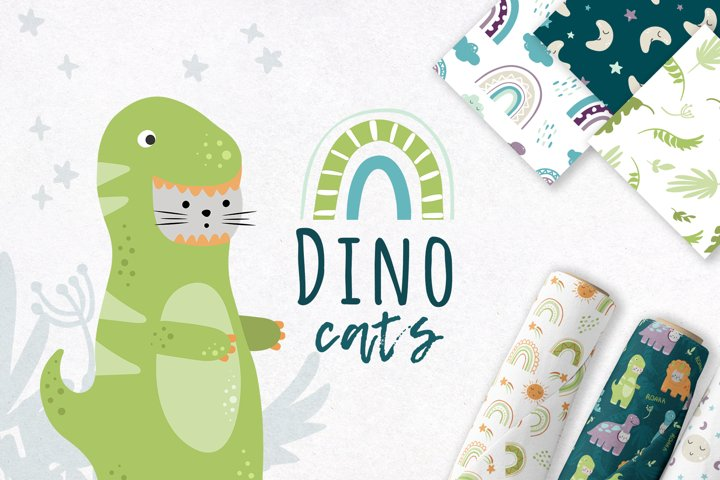 Dino & cats. Baby clipart, patterns