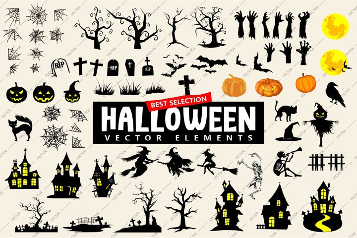 Halloween Vector Elements Icon Silhouettes Bundle