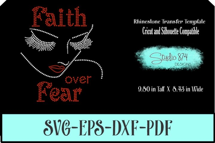 Faith Rhinestone SVG Template - Faith over Fear