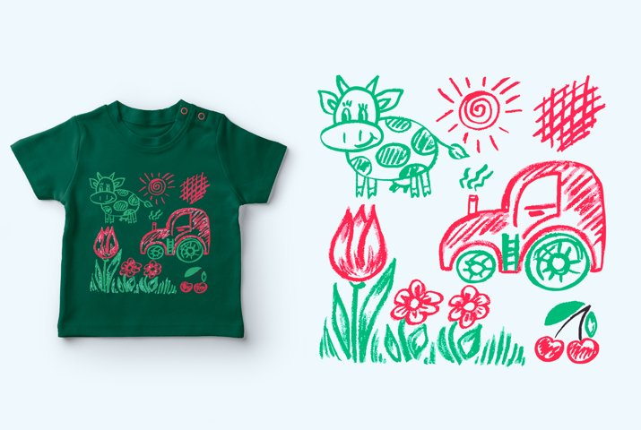 Cute childrens drawing. Tractor, cow, flowers, cherry