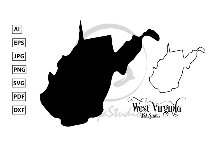 Map of The United States of America. State of West Virginia