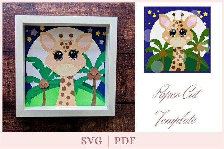 Cute Giraffe SVG, Giraffe cut file, layered svg, shadow box
