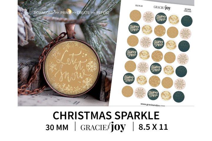 Christmas Sparkle 30 mm digital collage sheet