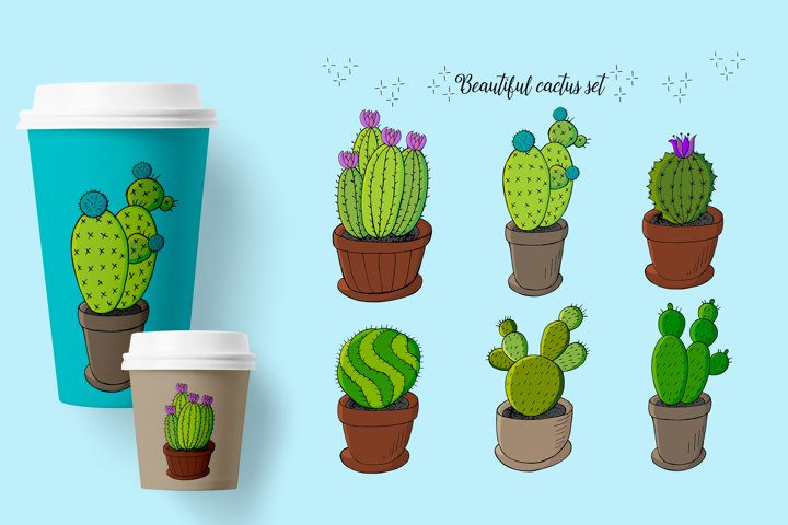 Cacti, aloe, succulents. Cute illustration