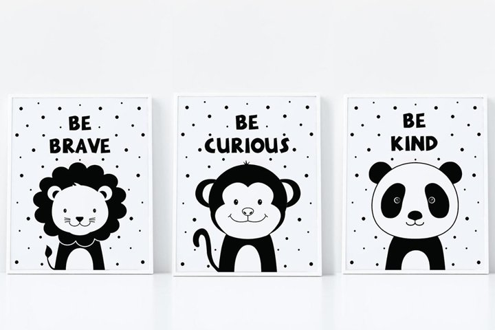 Lion, Panda, Monkey, Set of 3 art prints, nursery wall art