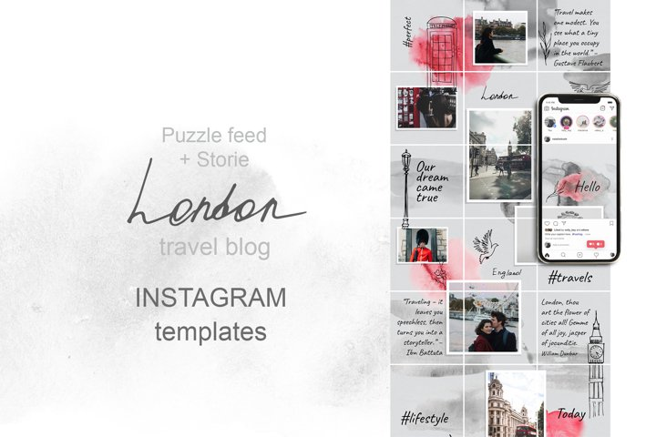 Puzzle Instagram Template. London Travel Blog