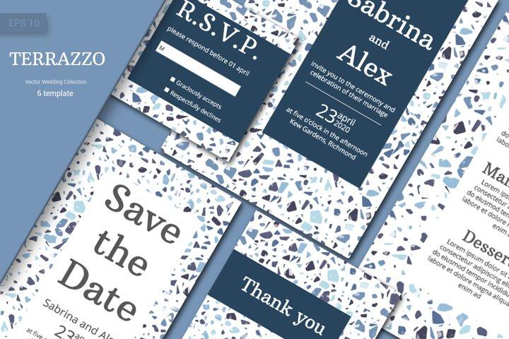 Wedding invitation suite. Indigo Terrazzo Pattern
