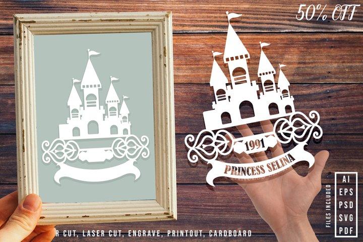 Princess Castle, Castle Flag Hanging Paper Cut Template