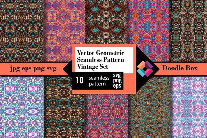 Vector Geometric Seamless Pattern Vintage set