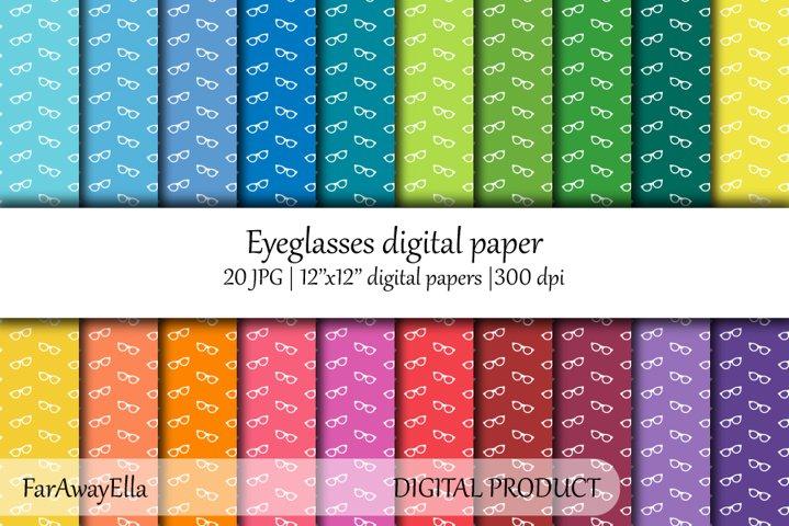 Eyeglasses JPG digital paper   20 seamless patterns