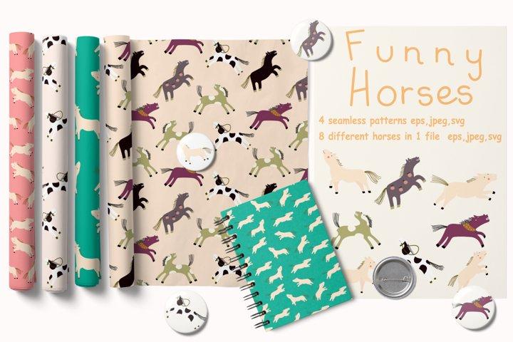 Cute horses design bundles