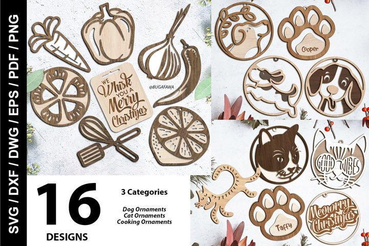 SVG - 16 Christmas Ornaments Cutting Files - Dog/Cat/Cooking