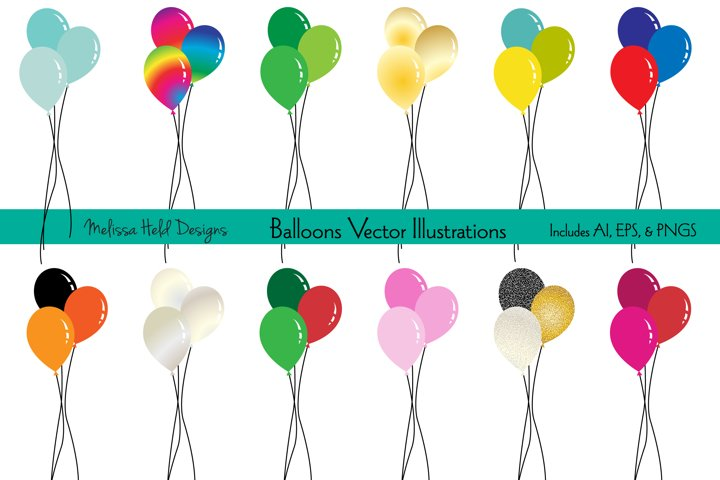 Holiday Balloons Vector Illustrations